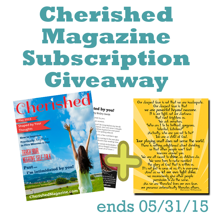 May Giveaway 6 Months Free of Cherished Magazine Plus Bonus!